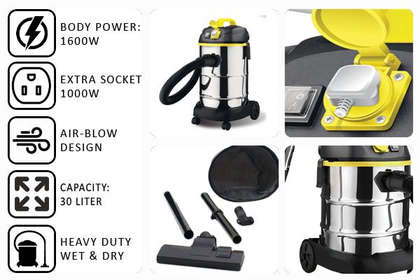 FABER Heavy Duty Wet & Dry Vacuum Cleaner 2600W