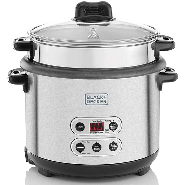 BLACK N DECKER 1.8L 3-In-1 Smart Cooker For Cooking Boiling And Steaming, Silver RPC1800