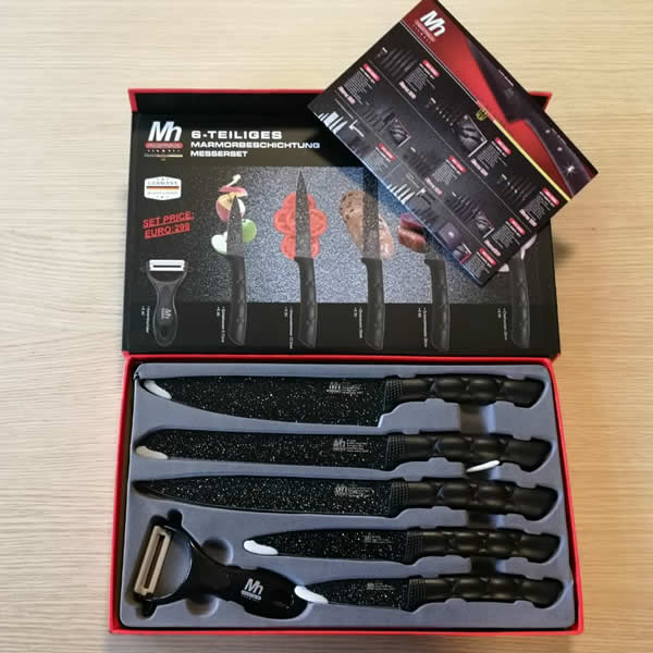 Millerhaus 6pcs Marble Coated Kitchen Knife Set