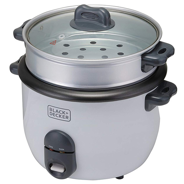 BLACK N DECKER 700W 1.8L 7.6 Cup Rice Cooker White RC1860