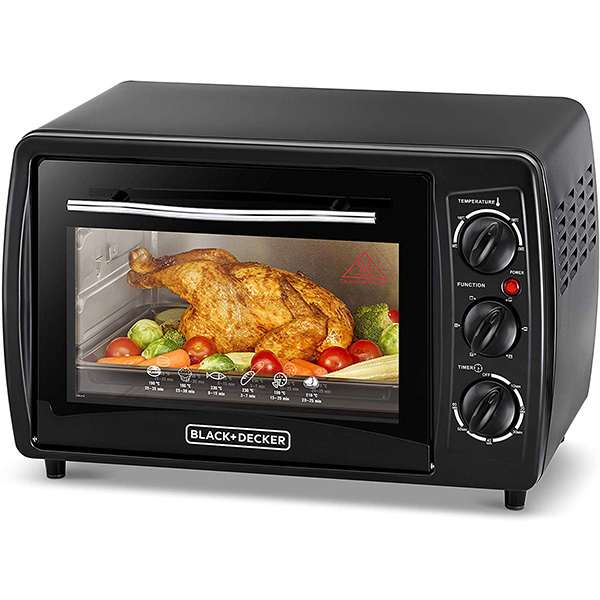 BLACK N DECKER Double Glass Toaster Oven With Rotisserie, Black, 19L TRO19RDG