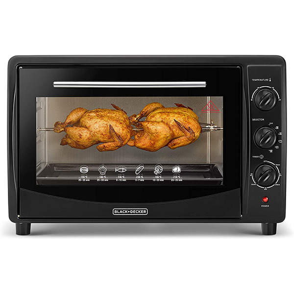BLACK N DECKER Double Glass Toaster Oven With Rotisserie, Black, 45L TRO45RDG