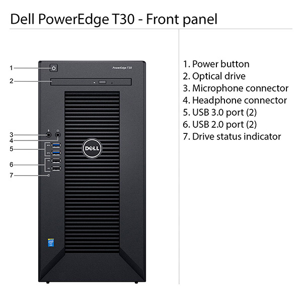 Dell Server PowerEdge T30 - Intel Xeon E3-1225 (Mini Tower)