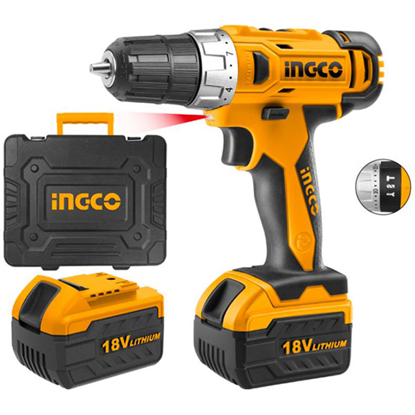 INGCO - Li-On Impact Drill With 2 Pcs Battery Pack - CIDLI228180